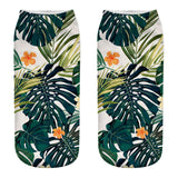 Tropical Plant 3D Printed Floral Short Socks