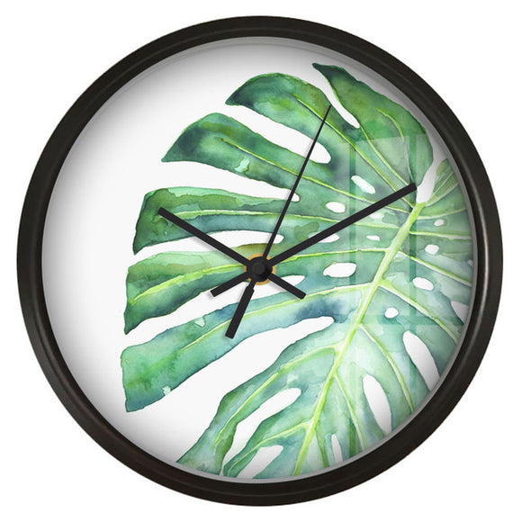 Green Monstera Wall Clock