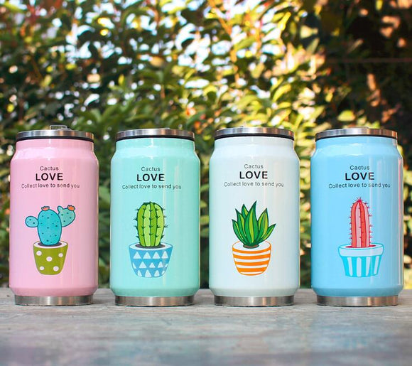 Cute Plant Pattern Straw Travel Mug