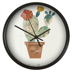 Maps Pattern Cactus Wall Clock