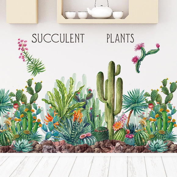 Green Tribal Cactus Wall Stickers