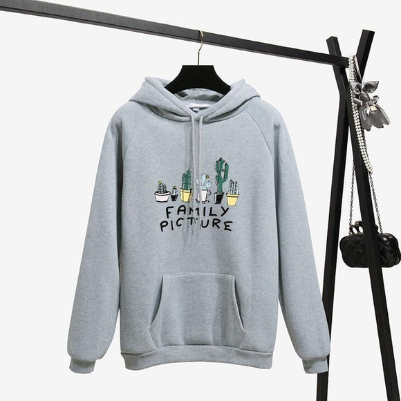 Fashion Letter Cactus Printing Hoodie