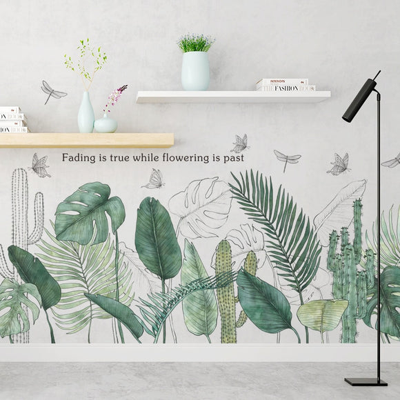 Tropical Plants Green Leaves Wall Stickers