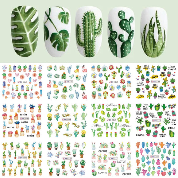 Adorable Cactus Design Nail Sticker