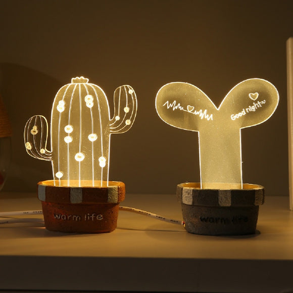 Cartoon Cactus 3D Lamp