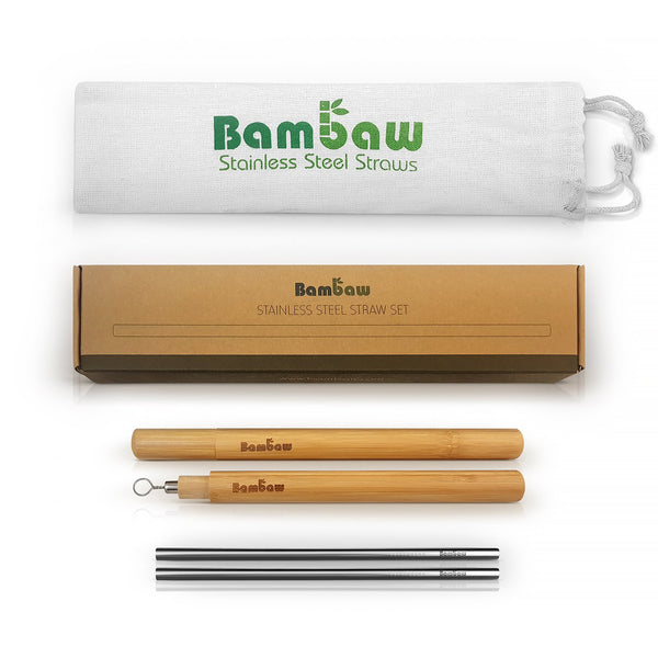 Bamboo Stainless Steel Straw Set-Bambaw-Kami Basics
