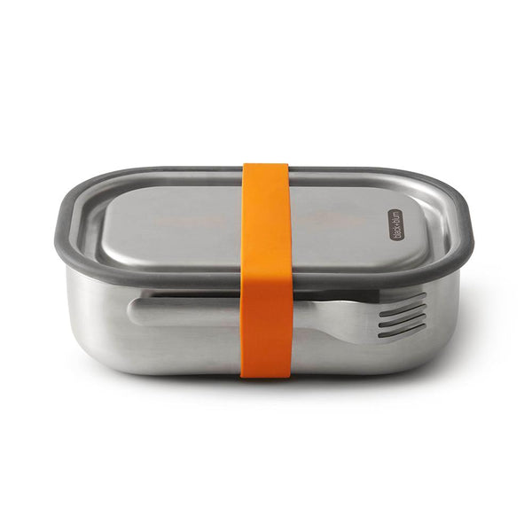 Large Lunch Box with Fork & Divider - Orange-Black + Blum-Kami Basics