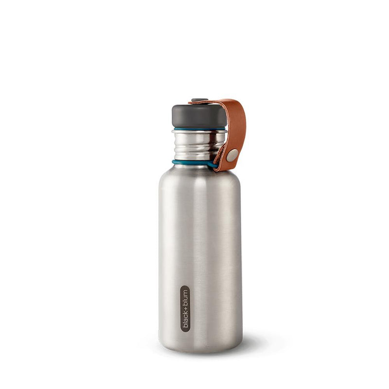 Water Bottle with Leather Strap-Black + Blum-Kami Basics