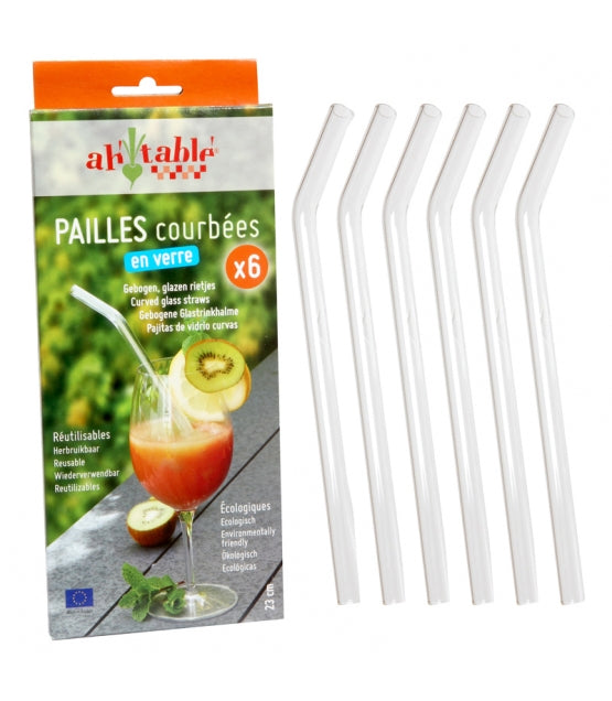 Curved Glass Straws (6 Pack)