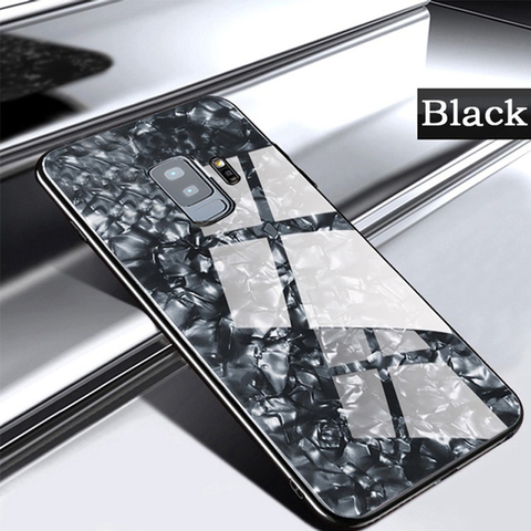 Marble Pattern Tempered Glass Case for Galaxy A6 Plus