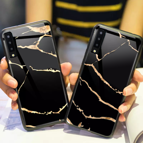 Golden Lighting Tempered Glass Case for Galaxy A7 2018