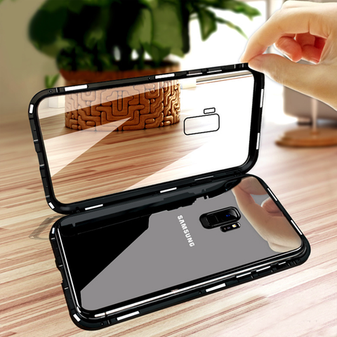 Tempered Glass Magnetic Adsorption Case for Galaxy A6 Plus