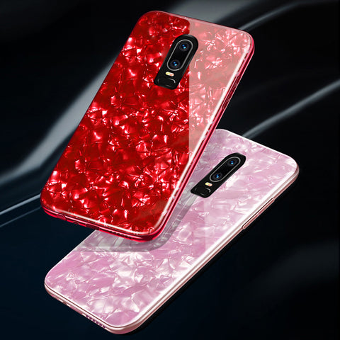 Marble Pattern Tempered Glass Back Case for OnePlus 6