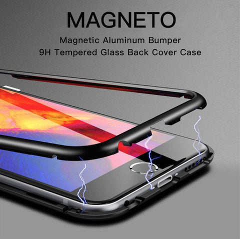Tempered Glass Magnetic Adsorption Case for Apple iPhone 6, 7, 8