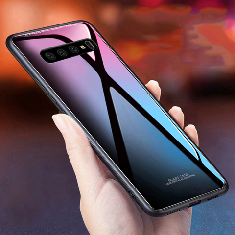 Luxury Smooth Tempered Glass Case For Galaxy S10/ S10 Plus