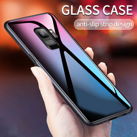 Luxury Hard Back Tempered Glass Case for Galaxy S9/ S9 Plus
