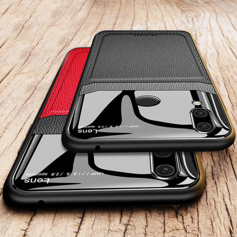 Luxury Leather Lens Card Holder Case For Redmi Note 7 & Note 7 Pro