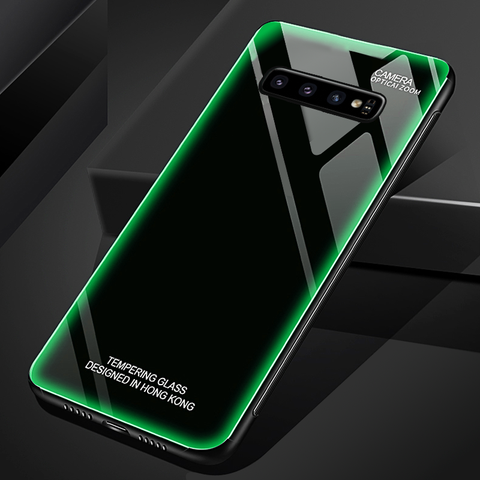 Aurora Tempered Glass Neon Glowing Case for Galaxy S10 / S10 Plus
