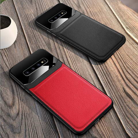 Luxury Leather Lens Card Holder Case For Galaxy S10/ S10 Plus