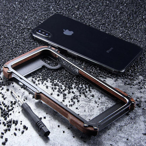 Luxury Metal Aluminum Wood Protective Bumper Case for iPhone X, XS or XS Max