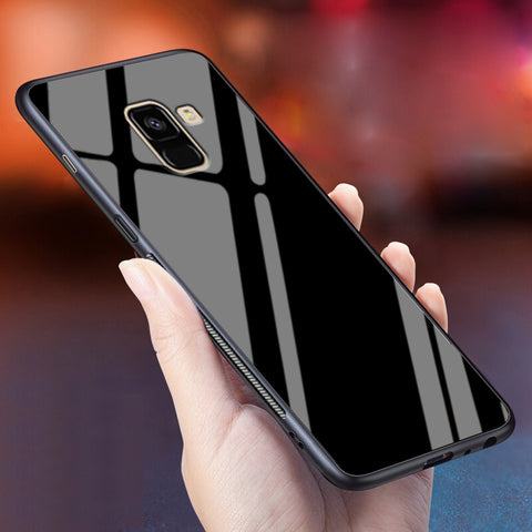 Smooth Luxury Tempered Glass Phone Case for Galaxy A8 Plus