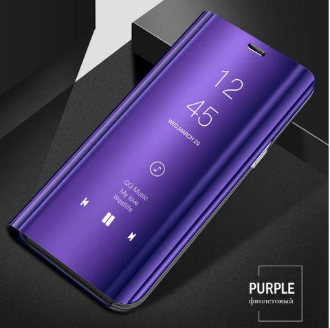 Mirror Clear View Flip Phone Case for Oppo F11 Pro [Non-Sensor]