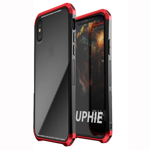 iPhone X Aluminium Transparent Gorilla Glass Case