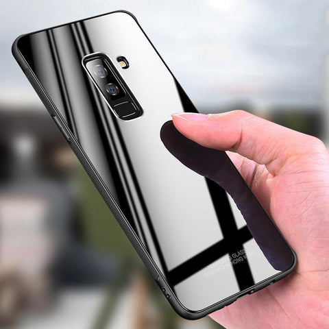 Luxury Hard Tempered Glass Phone Case for Galaxy A6 Plus