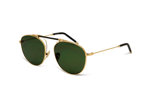 SANCE - YELLOW GOLD/ OLIVE LEATHER - GREEN MONO LENS