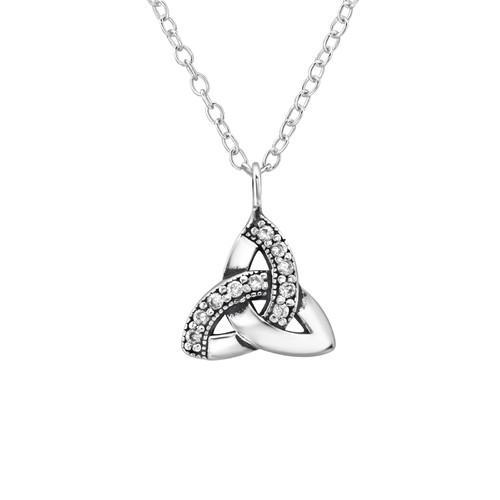 Kaulakoru - Celtic Knot - 10 mm x 10 mm - Sterling Hopea 925 - CZ Crystal - Samaskoru.fi