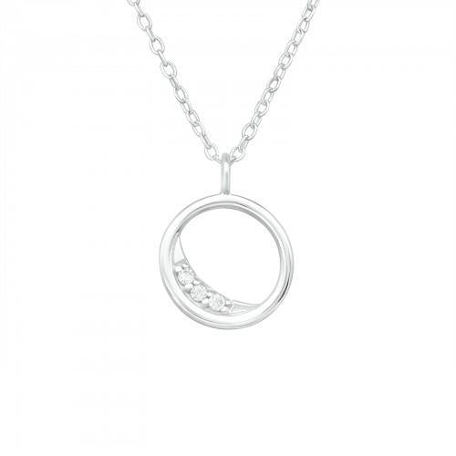 Kaulakoru - Crescent Moon - 11 mm x 11 mm - Sterling Hopea 925 - CZ Crystal - Samaskoru.fi