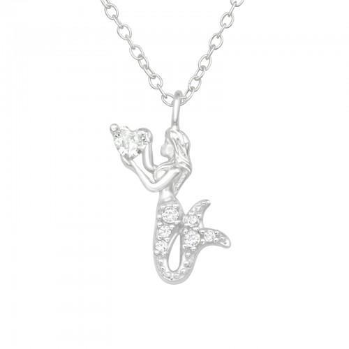 Kaulakoru - Mermaid - 12 mm x 15 mm - Sterling Hopea 925 - CZ Crystal - Samaskoru.fi