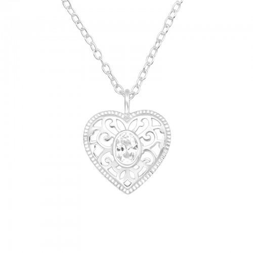 Kaulakoru - Heart - 11 mm x 11 mm - Sterling Hopea 925 - CZ Crystal - Samaskoru.fi