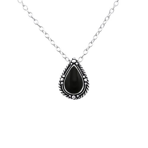 Kaulakoru - Tear Drop - 7 mm x 10 mm - Sterling Hopea 925 - Black - Samaskoru.fi
