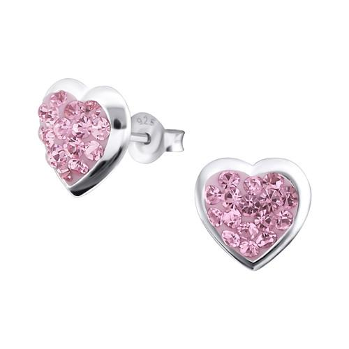 Nappikorvakorut - 10 mm x 10 mm - Sterling Hopea 925 - Light Rose - Samaskoru.fi
