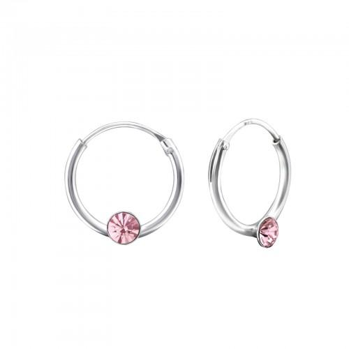 Rengaskorvakorut - 1.2 mm x 12 mm - Sterling Hopea 925 - Light Rose - Samaskoru.fi