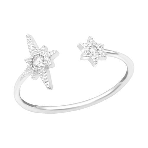 Sormus - Open Star - 7 mm x 10 mm - Sterling Hopea 925 - 5 - Samaskoru.fi
