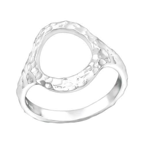 Sormus - Patterned Circle - 14 mm x 17 mm - Sterling Hopea 925 - 5 - Samaskoru.fi