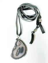 Load image into Gallery viewer, Agate & Black Leather Multi-Wear Necklace
