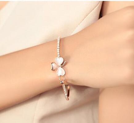 Clover cat's eye bracelet full diamond bracelet - Bestgoodshop
