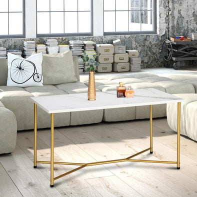 HODELY Single Layer 1.5cm Thick Density Board Imitation Marble Square Table Top Gold Foot Iron Coffee Table White - Bestgoodshop