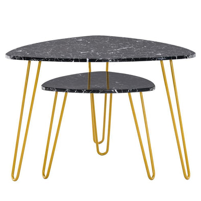 [84 x 83 x 46]cm Marble Iron Foot Coffee Table Side Table Set of 2 Black - Bestgoodshop