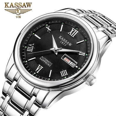 Genuine watch men's fully automatic mechanical watch, waterproof, luminous, double calendar, fine steel men's watches