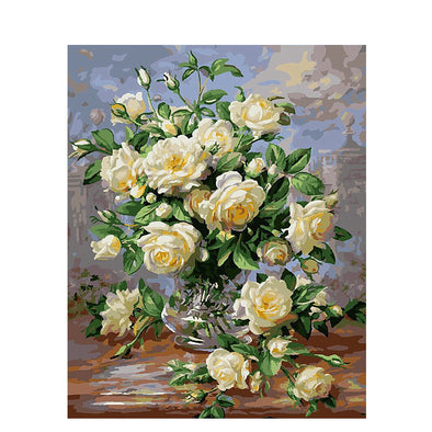White Rose Painting On Canvas Unique Gift For Home Decor - Bestgoodshop