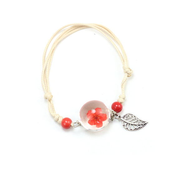 Simple plant dried flower specimen Glass Ball Bracelet dandelion sky stars - Bestgoodshop