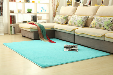 Smooth silk wool carpet, bedroom living room bedside carpet Blue - Bestgoodshop