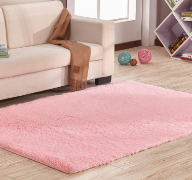 Smooth silk wool carpet, bedroom living room bedside carpet Pink - Bestgoodshop