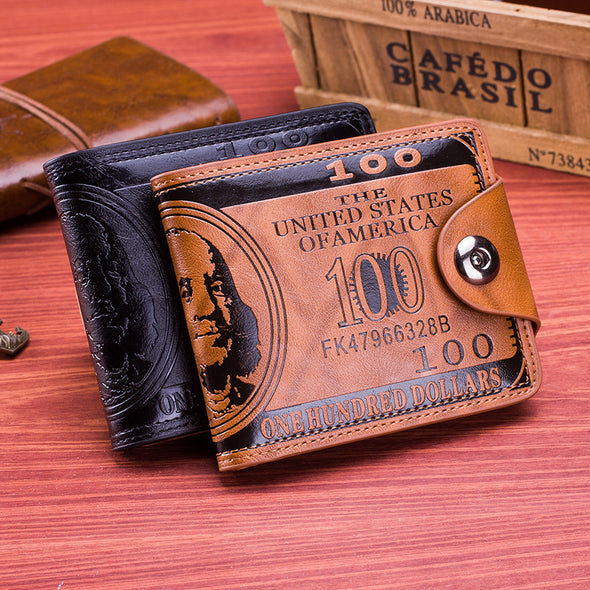 Men's Wallet detonating, wish double line pressure US dollar 100 dollars pattern men - Bestgoodshop