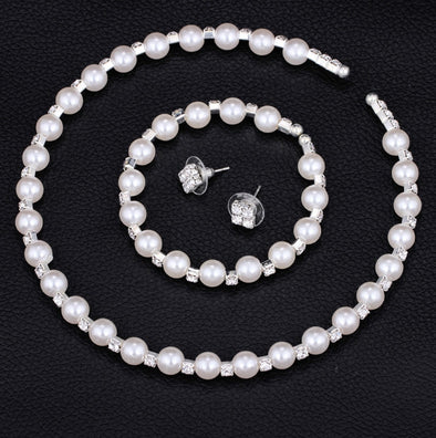 8MM handmade pearls, Rhinestone necklaces, bracelets, earrings