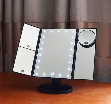 HD LED light makeup mirror can be rotated beauty magnifying glass